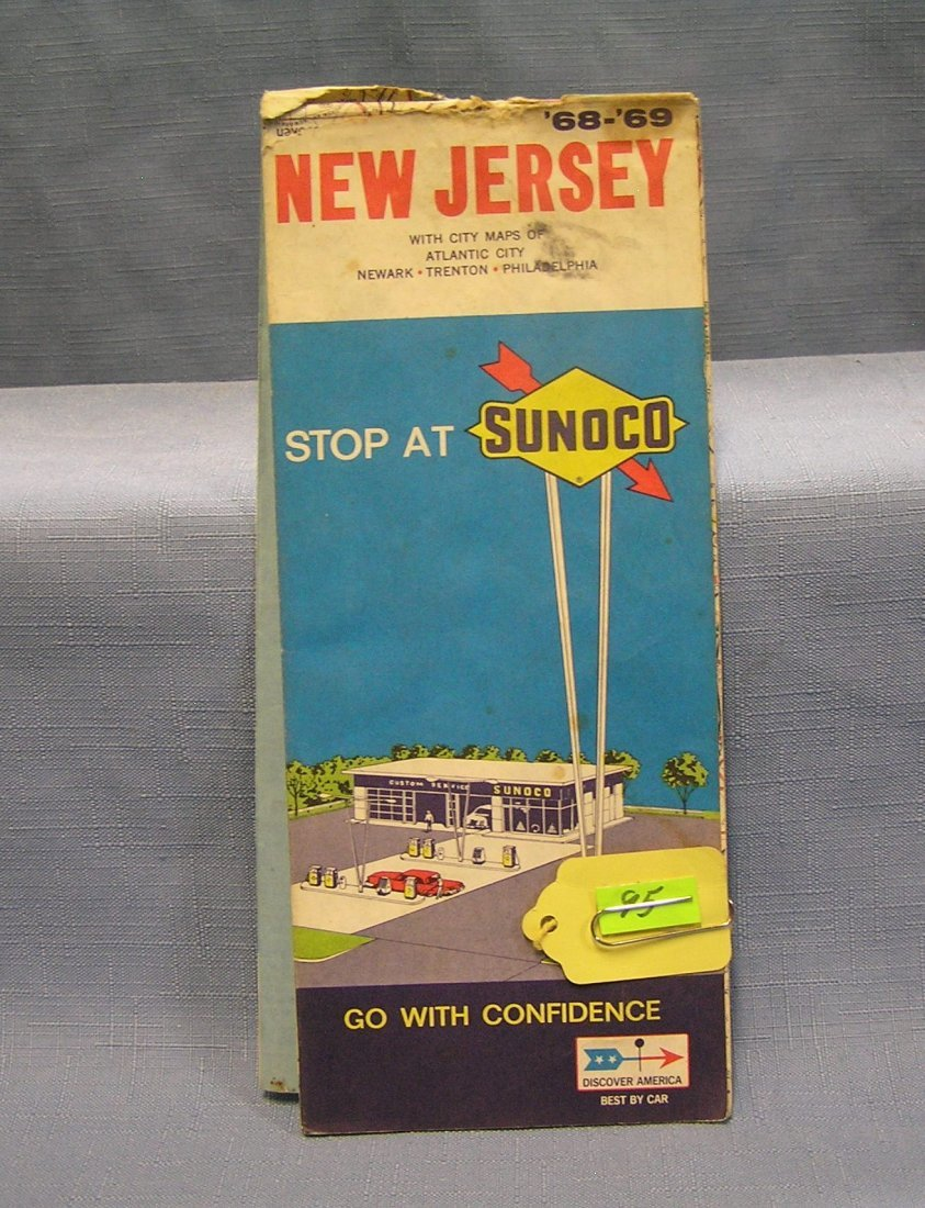 Vintage Sunoco gas advertising road map