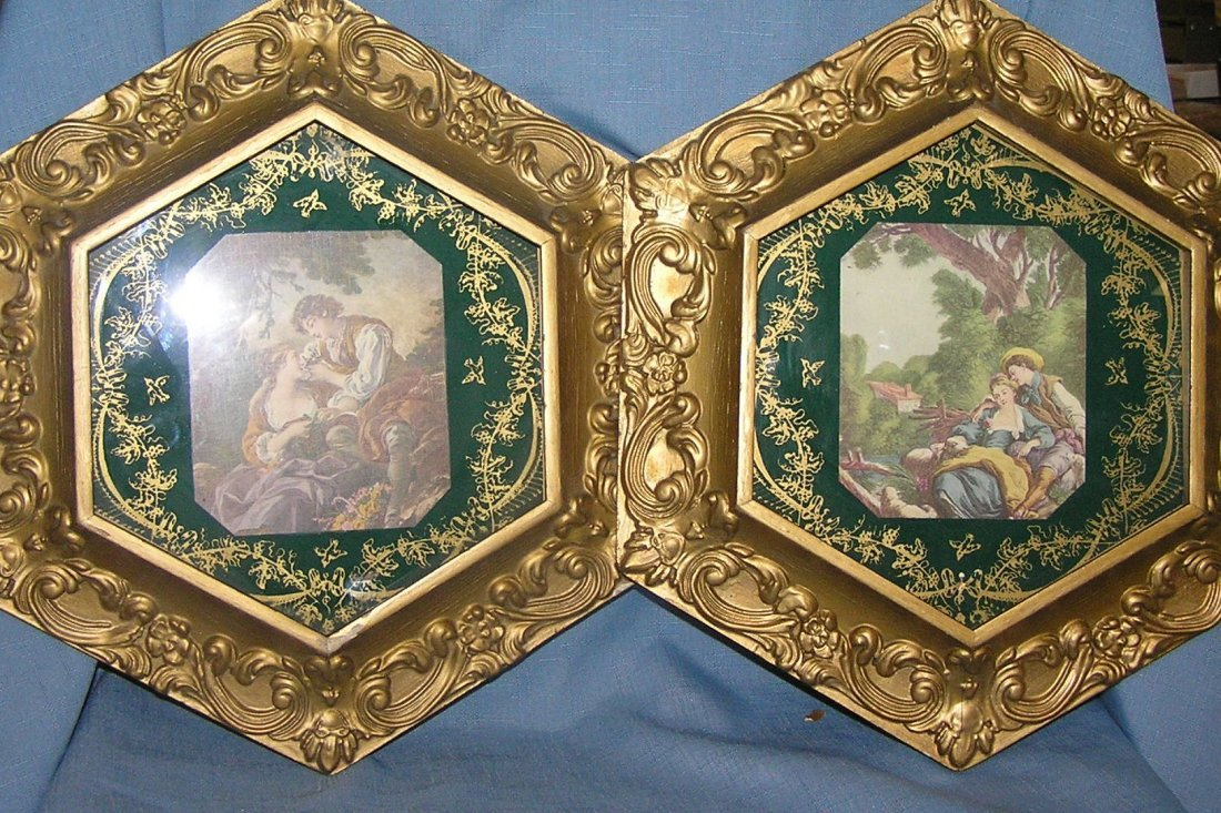Pair of vintage victorian style pictures