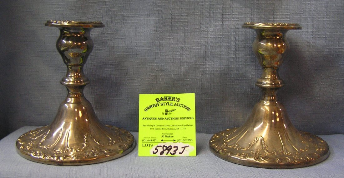 Pair of Gorham silver plated candle sticks