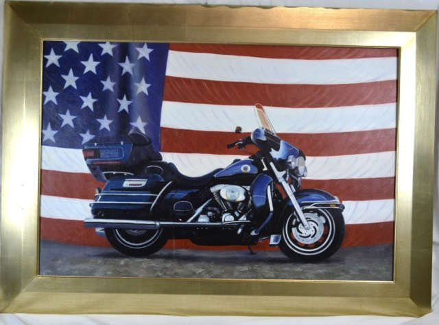 Unsigned Framed Giclee on Canvas Harley Davidson