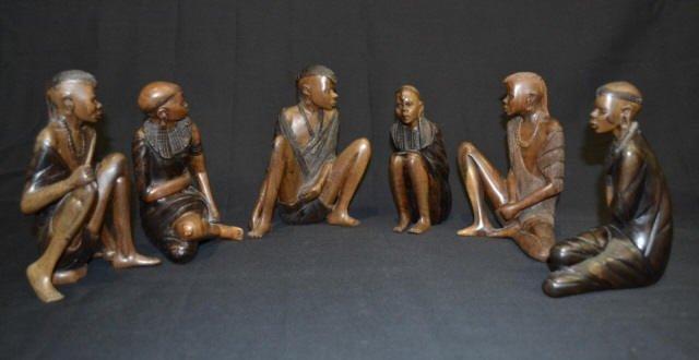 6 Carved Wood Native Figurines 2 Sign R Musyoka 6