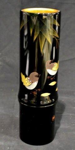 "Japanese Wajima Lacquer Vase 10.50"" x 3"" . In Lke New"