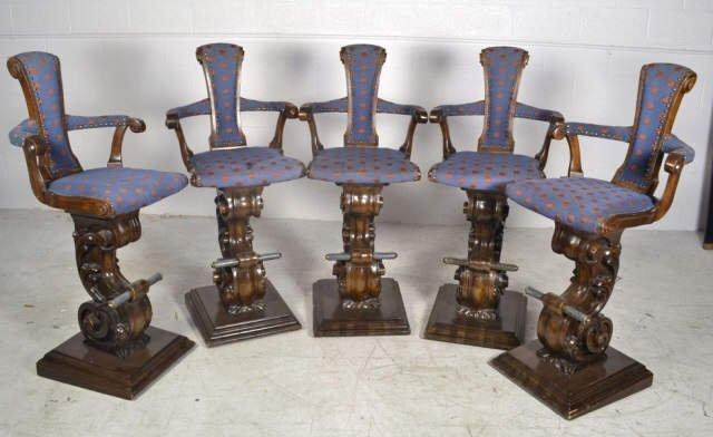 5 Ornate Wood Carved Swivel Bar Stools Ornate Wood