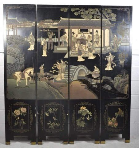 Asian Style Wood Carved Screen Asian Style Wood Carved