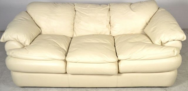 Leatherworks Ivory Leather Sofa Viewpoint