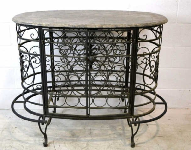 """Marble Top Table with Metal Iron Wine Rack 38"""" x 52"""""""