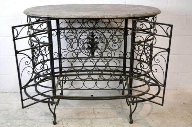 """Marble Top Table with Metal Iron Wine Rack 38"""" x 52"""" - 2"""
