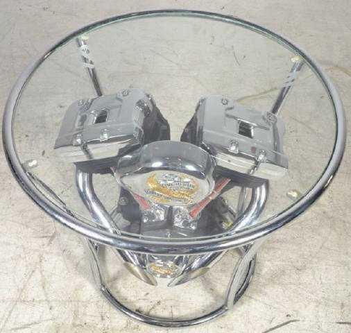 Harley Davidson Motor Glass Top Coffee Table Harley - Motor coffee table