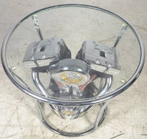 Davidson Motor Glass Top Coffee Table Harley