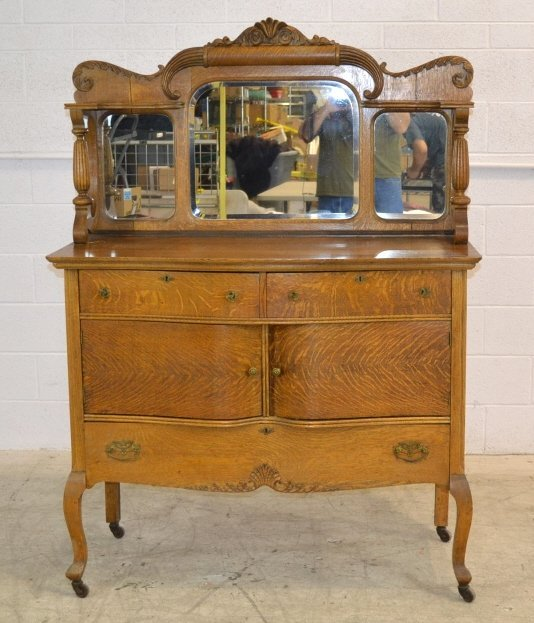 Antique Tiger Oak Buffet with Mirror Antique Tiger Oak