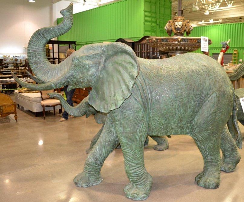 Large Bronze Bull Elephant Fountain