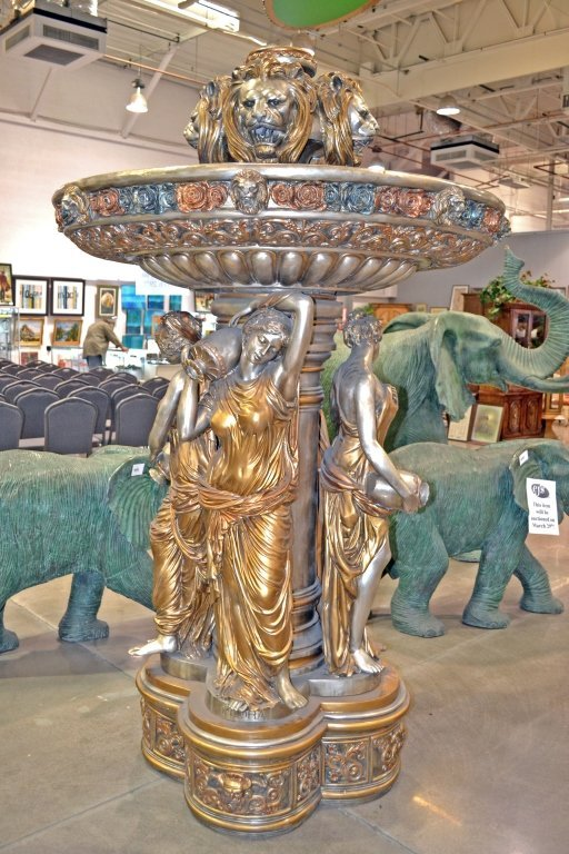 Bronze 4 Seasons Lady Lion Head Fountain