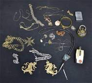 Costume Jewelry Lot Bolo Tie Lighter Chains