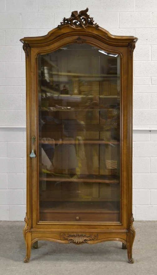 Vintage Tall Carved Wood Glass Front Cabinet