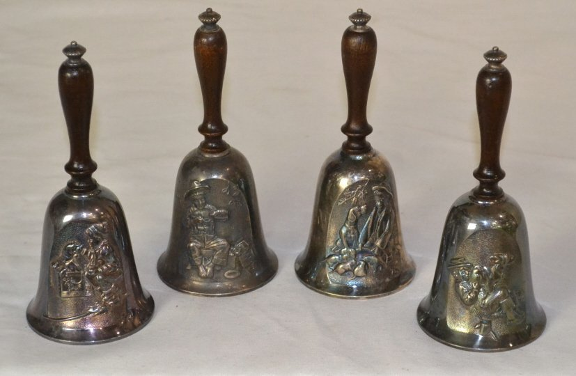 (4) Gorham Silver Plate Norman Rockwell Bell Lot