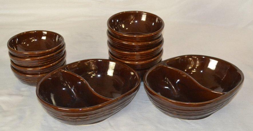 Mar-Crest Stoneware, USA, Bowls, Divided Bowls