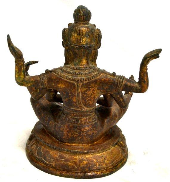 Bronze Coated 6 Arm Hindu Goddess Statue - 2