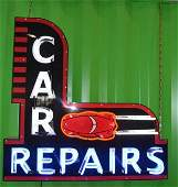 Large Neon Car Repairs Sign