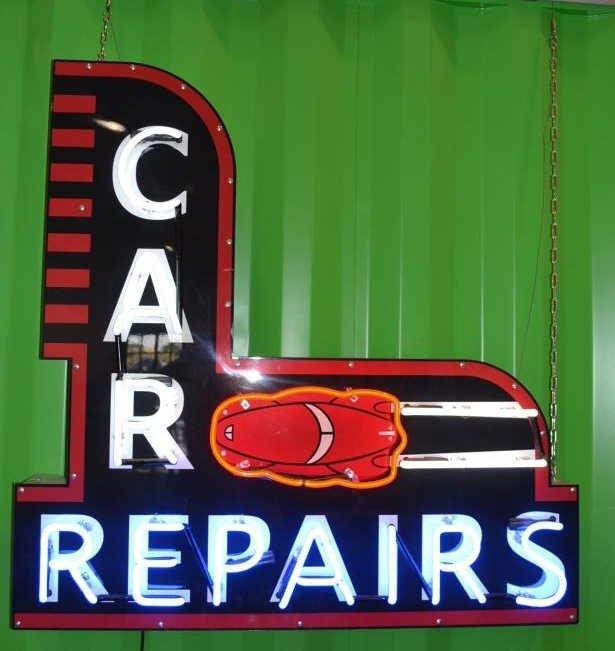 Large Neon Car Repairs Sign