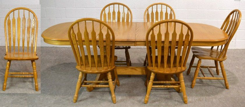 Shin Lee Oak Dining Table 6 Chairs 2 Leafs Jun 07 2014 Ej S Auction Consignment In Az