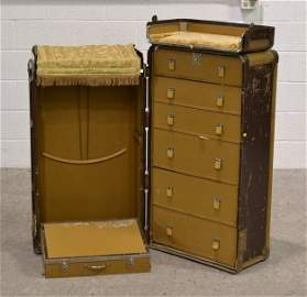 Old Steamer Wardrobe Trunk, Connor & Sons