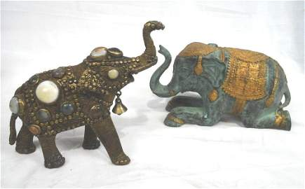 2 Elephants, 1 Bejeweled, 1 Gold Gilt On Ceramic