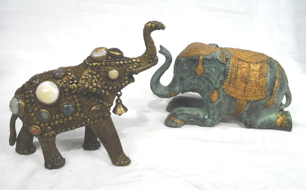 2 Elephants, 1 Bejeweled, 1 Gold Gilt On Ceramic