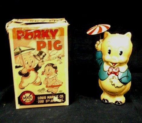 Marx Porky Pig Tin Litho Toy, With Box 1939