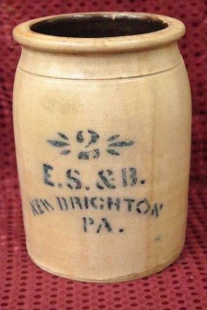 19th Century #2 Blue Decorated Stoneware Crock