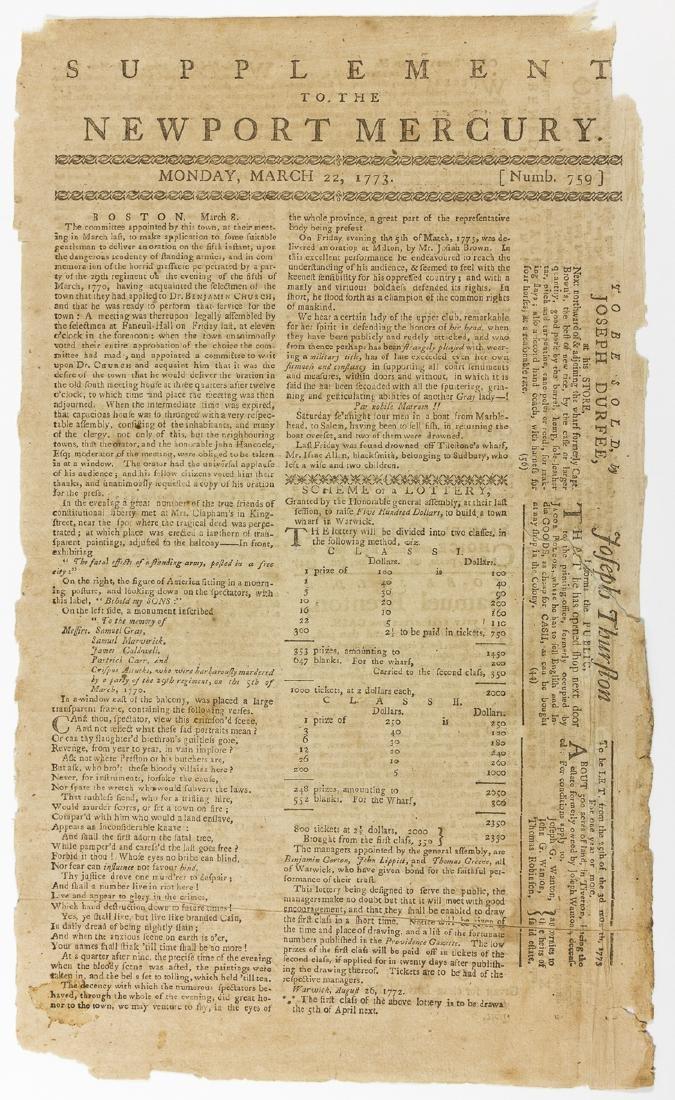 RHODE ISLAND NEWSPAPER REPORTS ON THE BOSTON MASSACRE