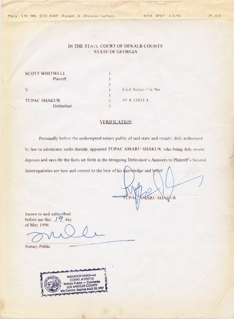 TUPAC SHAKUR'S DEPOSITION AFFIDAVIT FOR 1993 SHOOTING C