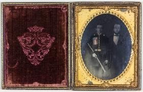 HALF-PLATE PHOTO OF SOUTH CAROLINA SOLDIER WITH SWORD
