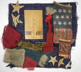CIVIL WAR FLAG AND PATRIOTIC POSTER RELICS, WITH