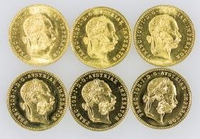 SIX 1915 AUSTRIAN GOLD 1 DUCAT PROOF-LIKE TRADE COINS