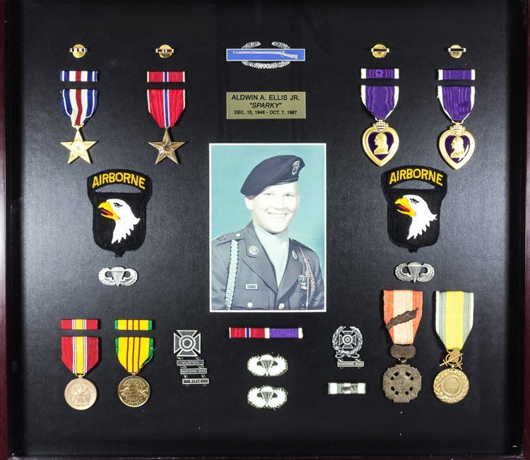 "MEDALS, PHOTOS AND SCRAPBOOK OF ALDWIN ""SPARKY"" ELLIS J"