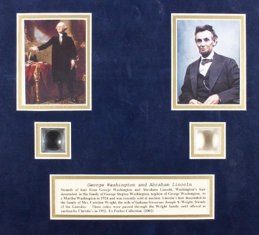 WASHINGTON AND LINCOLN HAIR RELIC DISPLAY