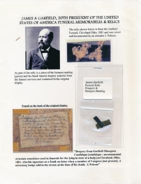 JAMES A. GARFIELD FUNERAL RELICS