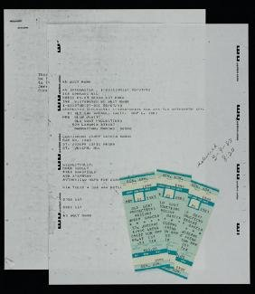JERRY GARCIA BAND UNUSED TICKETS & CONCERT RIDER, 1983
