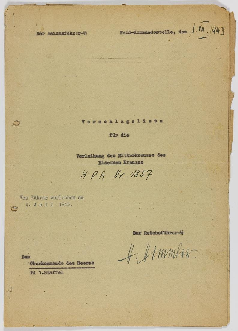 HEINRICH HIMMLER KNIGHT'S CROSS RECOMMENDATION