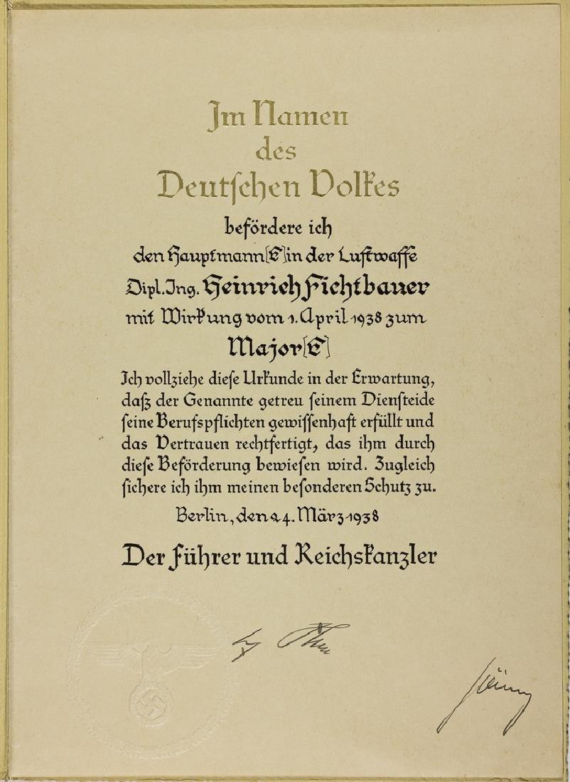 ADOLF HITLER AND HERMANN GORING PROMOTION CERTIFICATE
