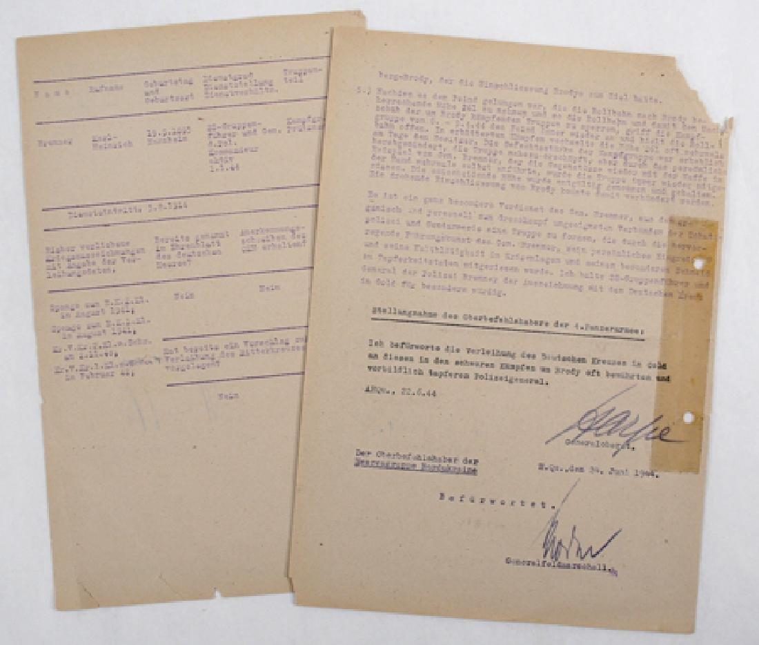 GERMAN CROSS RECOMMENDATION FOR KARL-HEINRICH BRENNER