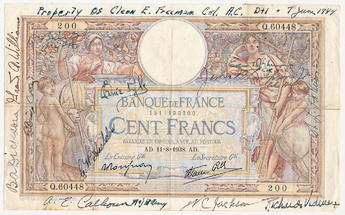 ERNIE PYLE FRENCH BANK NOTE SIGNED ONE DAY AFTER D-DAY