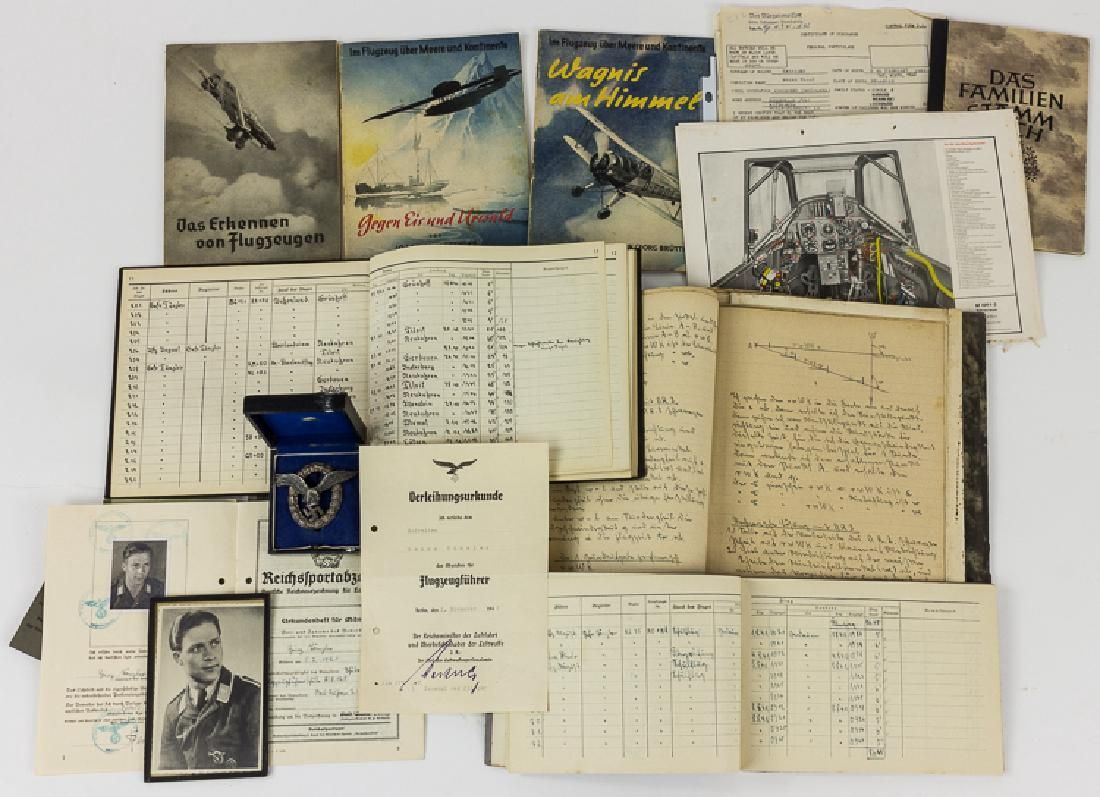 LUFTWAFFE PILOT'S MEDAL, PHOTO, AND DOCUMENT GROUPING