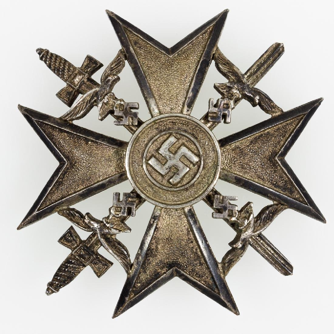 SPANISH CROSS IN SILVER WITH SWORDS