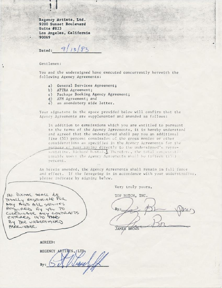 JAMES BROWN SIGNED DOCUMENT AND ITEMS FROM HIS ESTATE