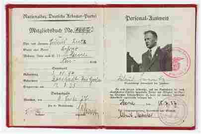 ADOLF HITLER SIGNED NAZI PARTY MEMBERSHIP BOOK