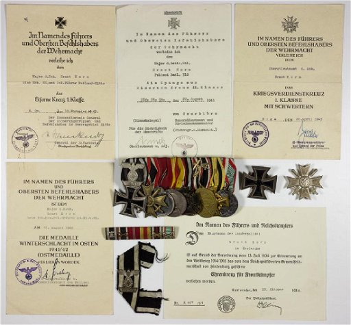 MEDAL AND DOCUMENT GROUPING OF STATE POLICE MAJOR ERNST