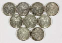 PAUL VON HINDENBURG FIVE REICHSMARK COINS (9)
