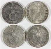 PAUL VON HINDENBURG FIVE REICHSMARK COINS (4)