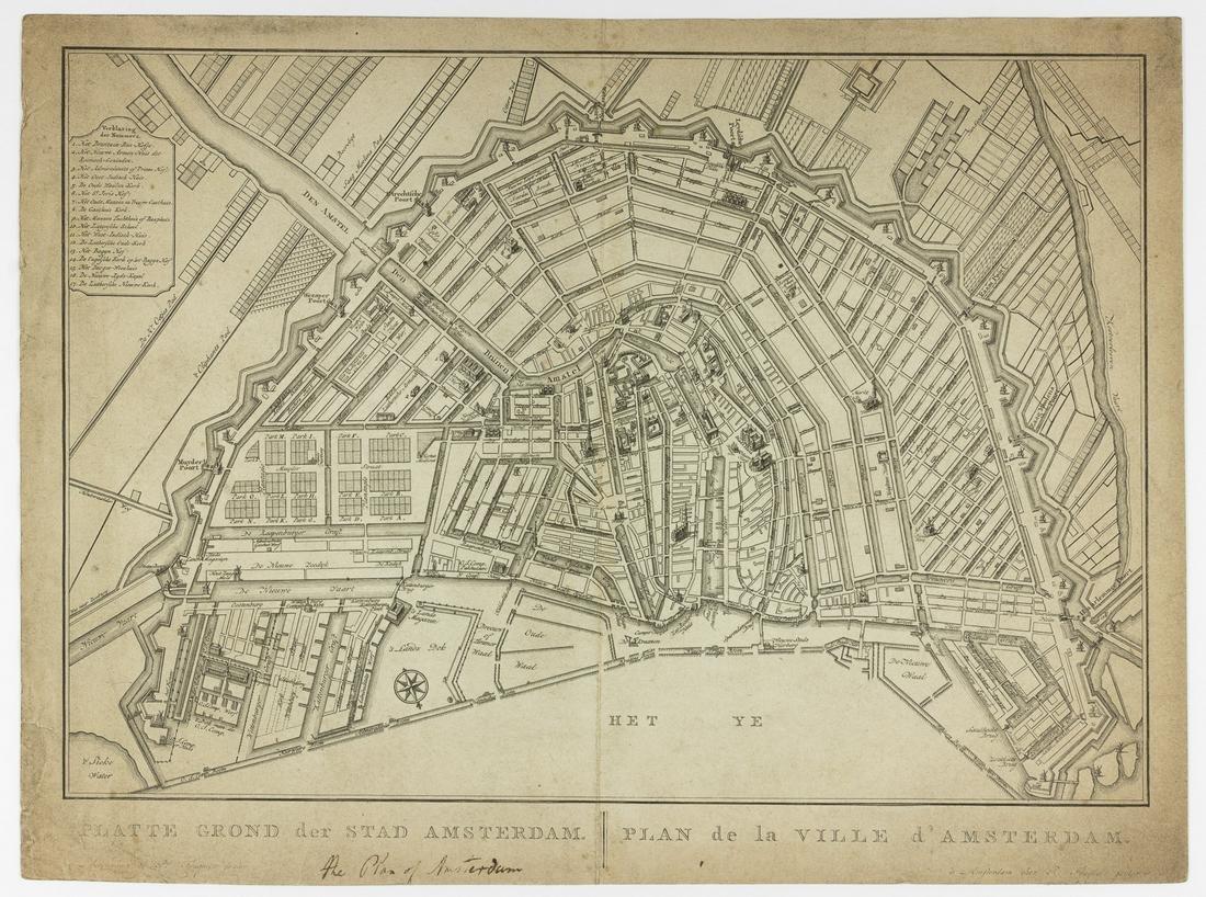 MAP OF AMSTERDAM, CA. 1774